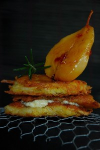 Potato Rosti with Blue Cheese and caramalized Pears