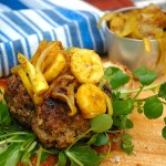 Curry Burgers with onion and banana relish