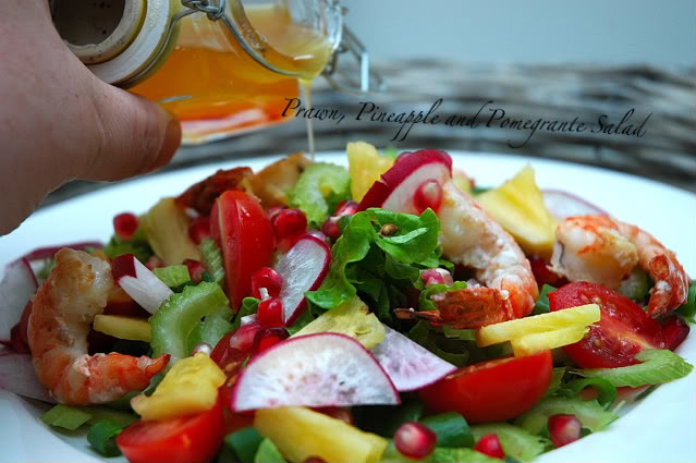 Fresh Salad-With Prawns-Pineapple-and Pomegranate
