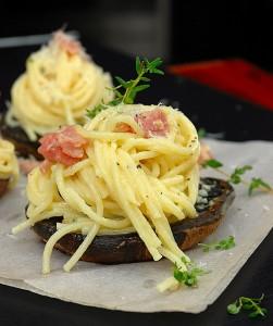 Spaghetti Carbonara on Grilled Portabello Mushrooms