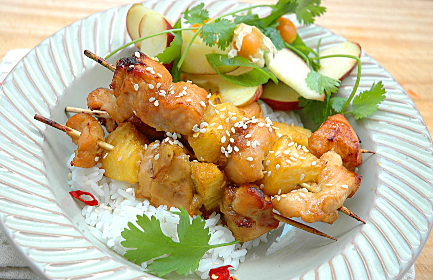 Sticky Pineapple and Chicken Kebabs - My Easy Cooking