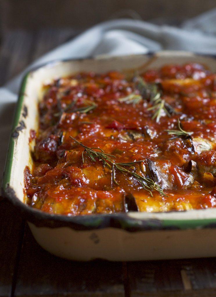 Spicy Sausage Eggplant bake