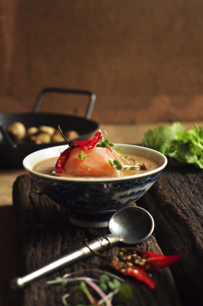 Coconut Broth with Cold-Smoked Trout