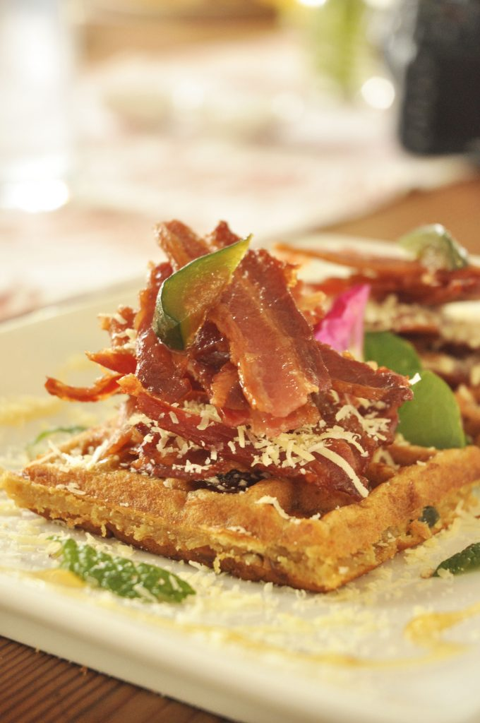 Buttermilk Waffles with bacon, bcon jam and figs