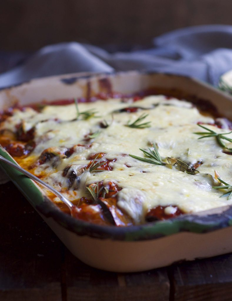 Spicy Sausage Eggplant bake