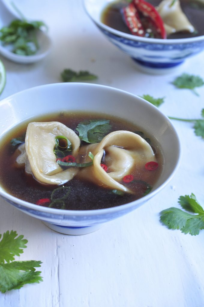 Chinese Dumlings in an Asian Broth