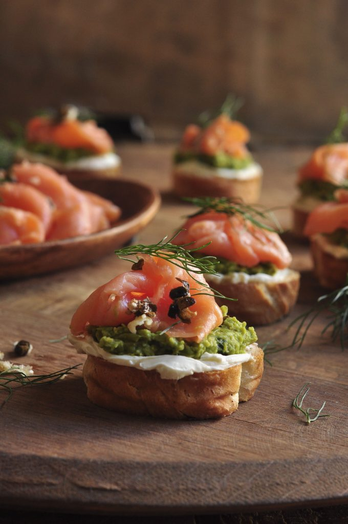 Smoked Salmon Crostini with Pea Pesto