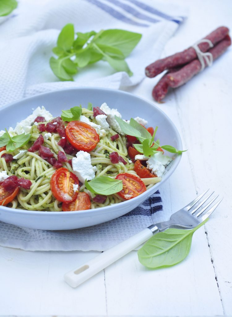 Pesto Salami and Goats Cheese pasta