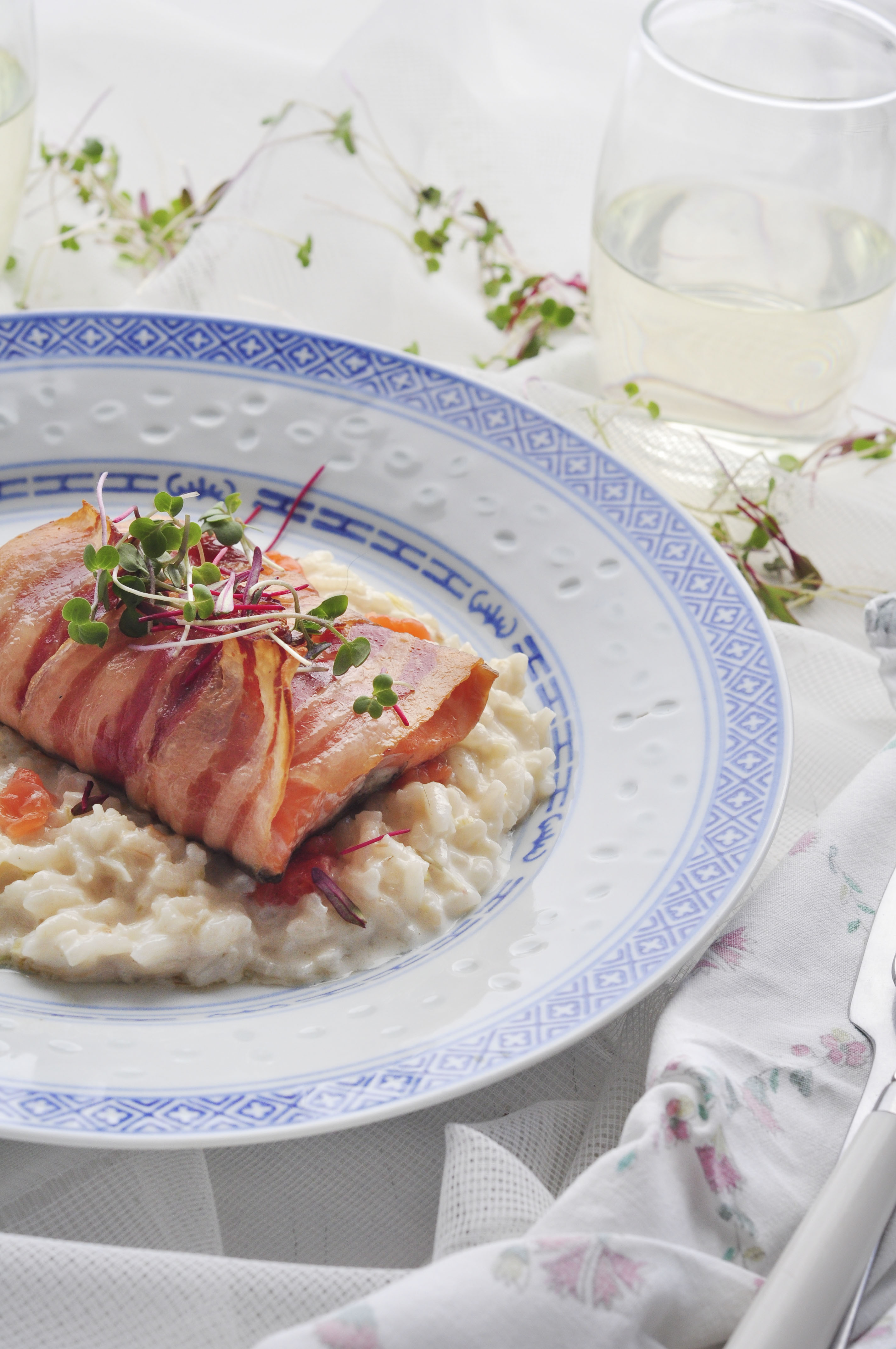 Salmon risotto with Salmon wrapped in Pancetta