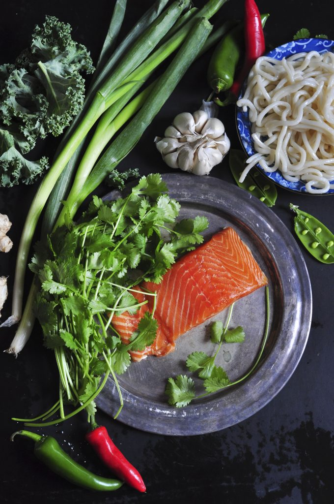 Japanese Salmon Noodle Stir Fry