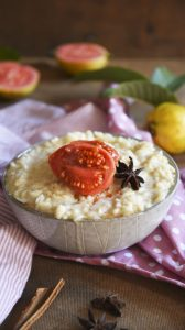 Rice Pudding with Poached Guavas