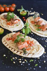 Grilled Salmon Kebabs and Hummus