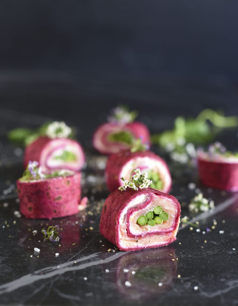 Beetroot and Smoked Trout wraps