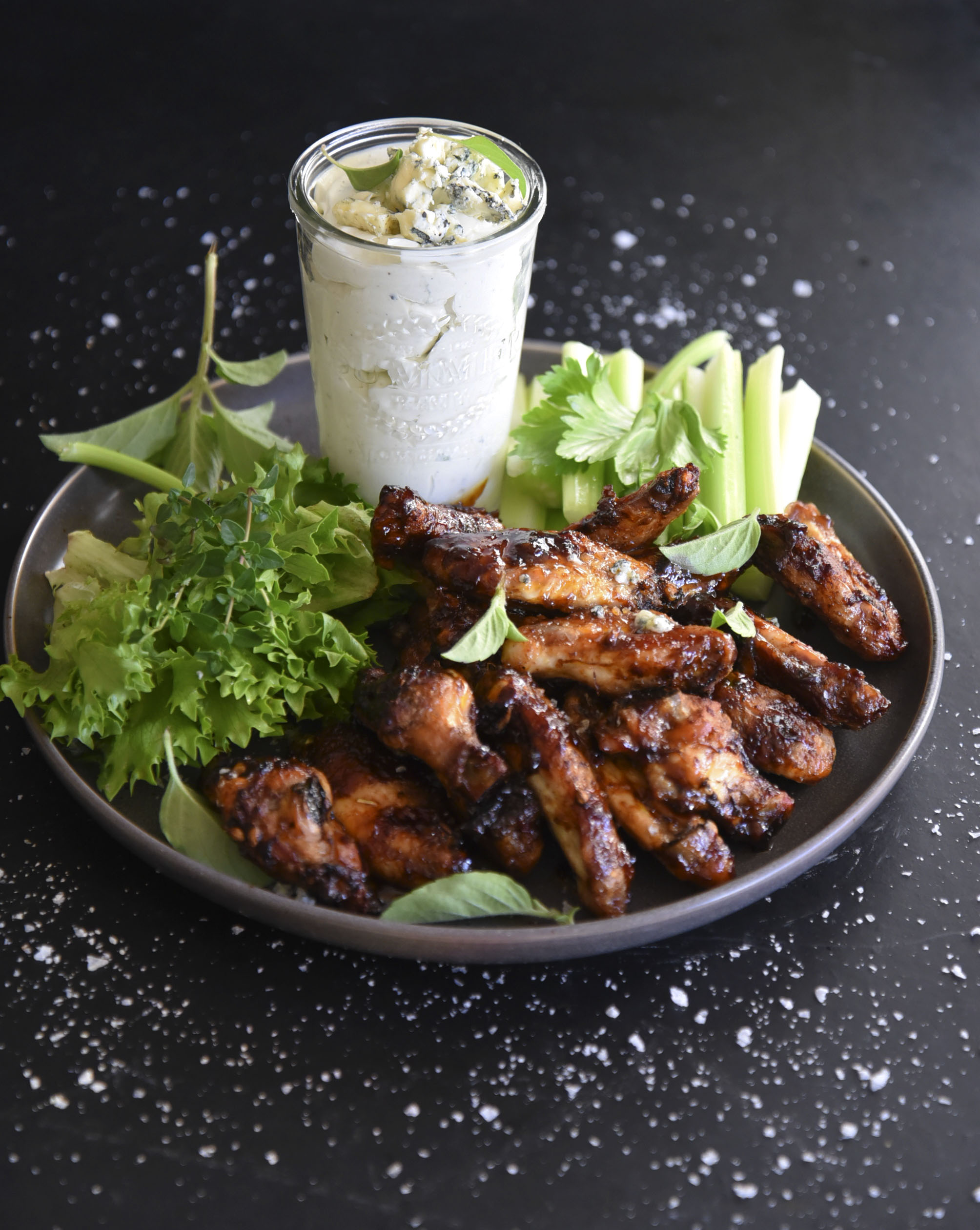 Sticky Wings with Blue Cheese Dip