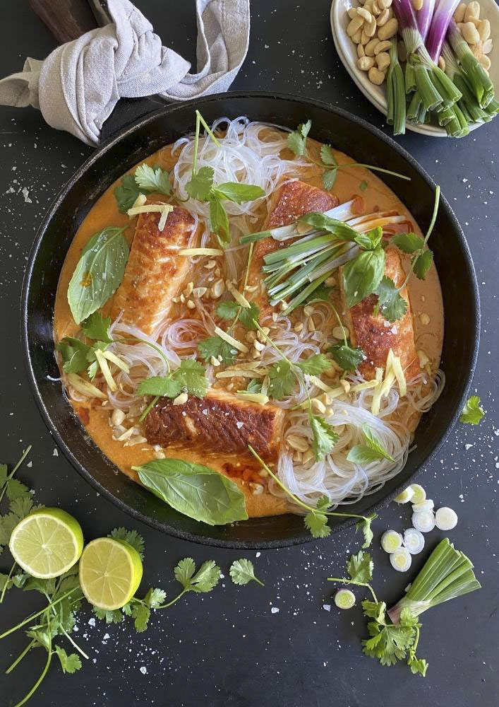 Grilled Salmon in Coconut Lime Broth