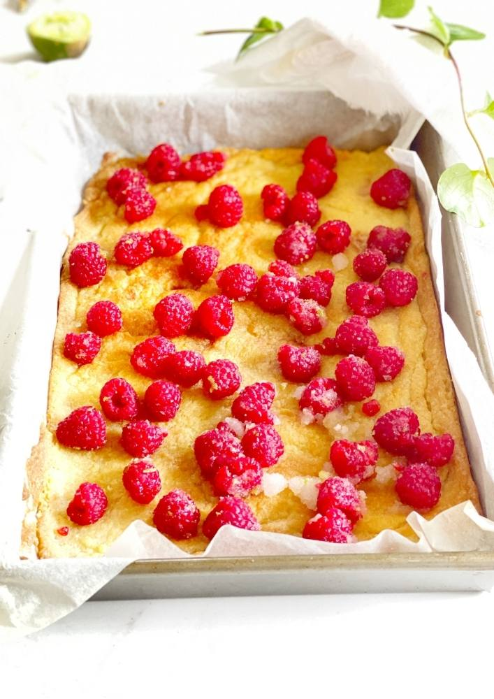 Scatter Raspberries over baked layer