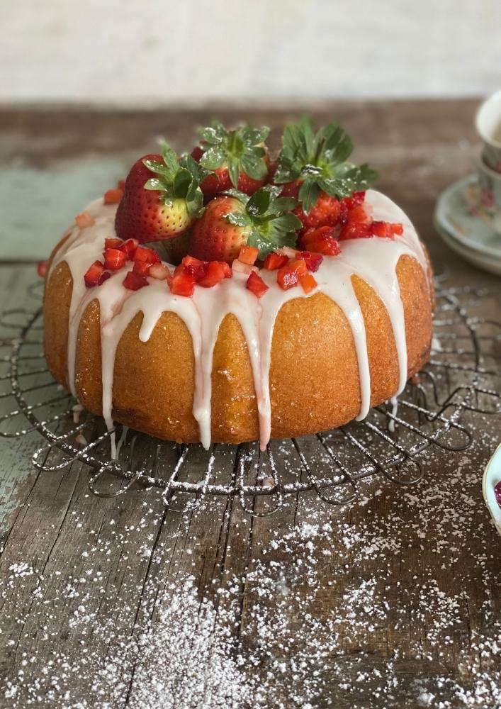 Lemon Bundt Cake with Strawberry Swirl