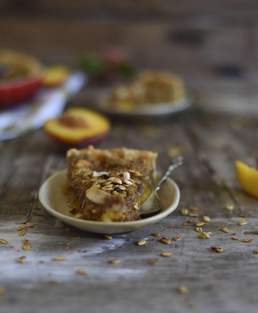 Peach Cranola Crumble Pie