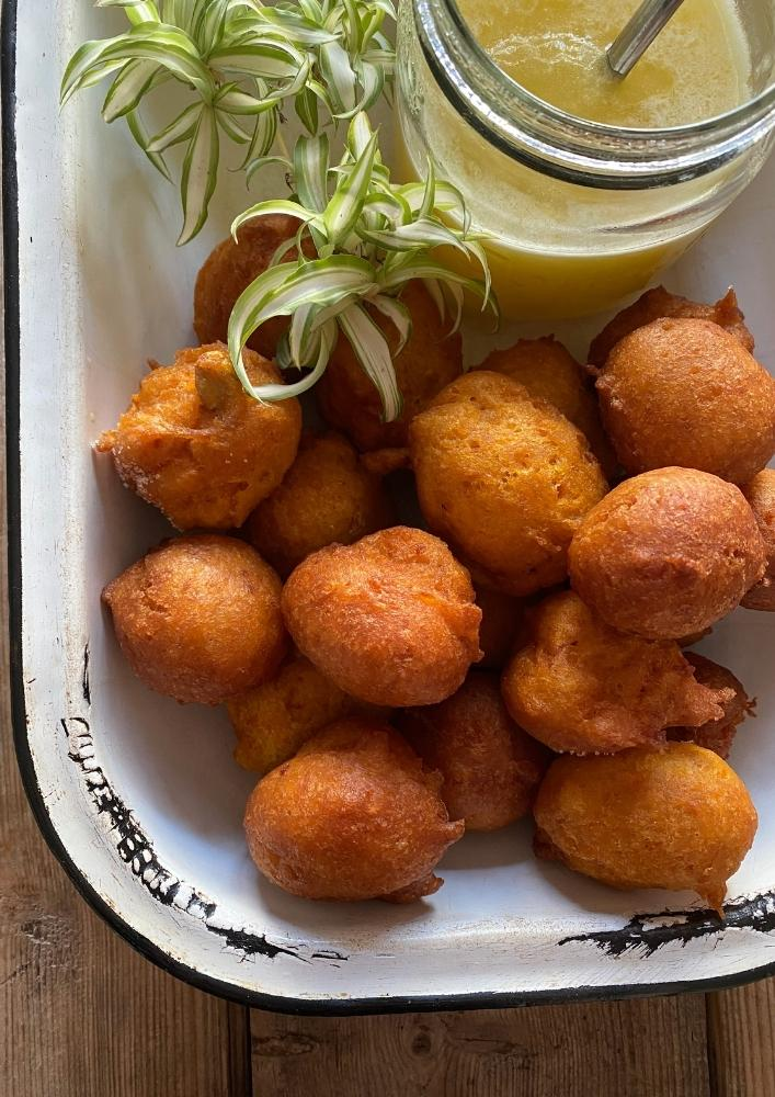 Pumpkin Fritters with Amarula Sauce