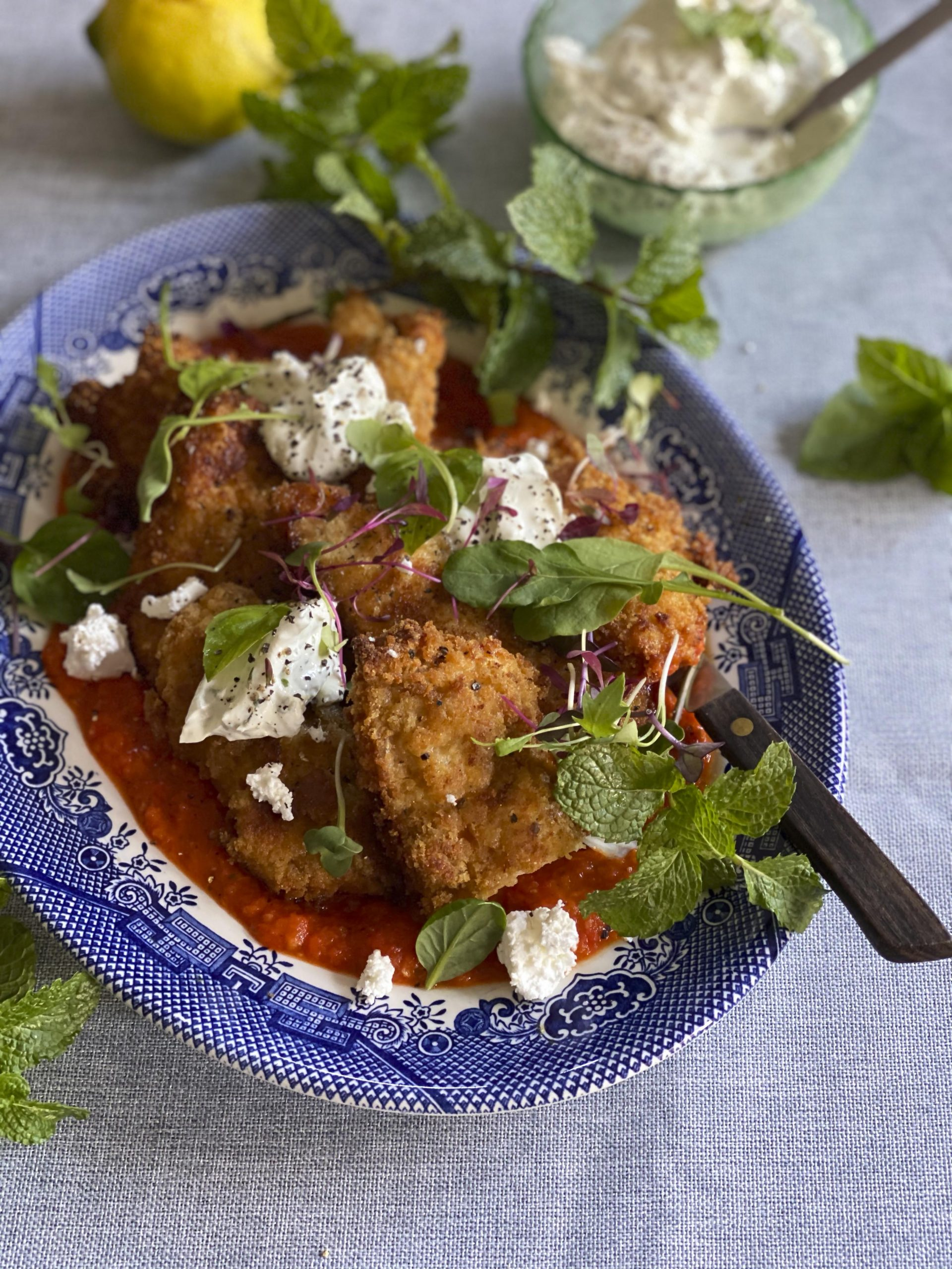Crumbed Chicken with Whipped Feta